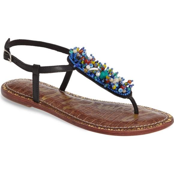 4be3bb02969b NWT Sam Edelman Gabrielle Blue Beaded Sandals 7